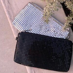 2 sequins POUCH black silver evening CLUTCH BAG
